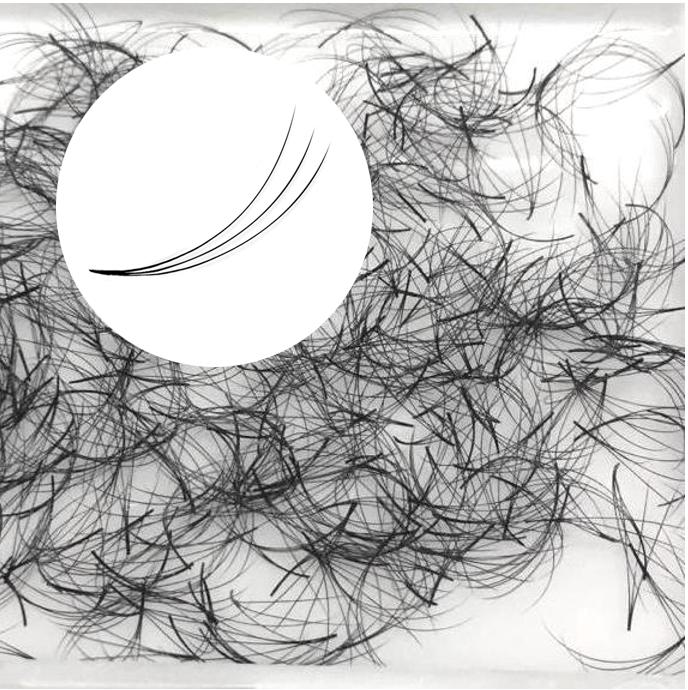 500 feinste, vorgefertigte Wimpernfächer 3D ohne Knoten, C-Curl, 0,07mm Durchmesser, ideal für Volumentechnik