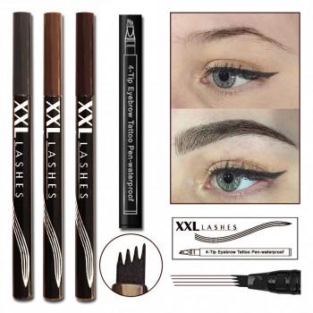 4Tip Eyebrow Tattoo Pen - Augenbrauenstift mit Microblading Effekt..... dunkelbraun
