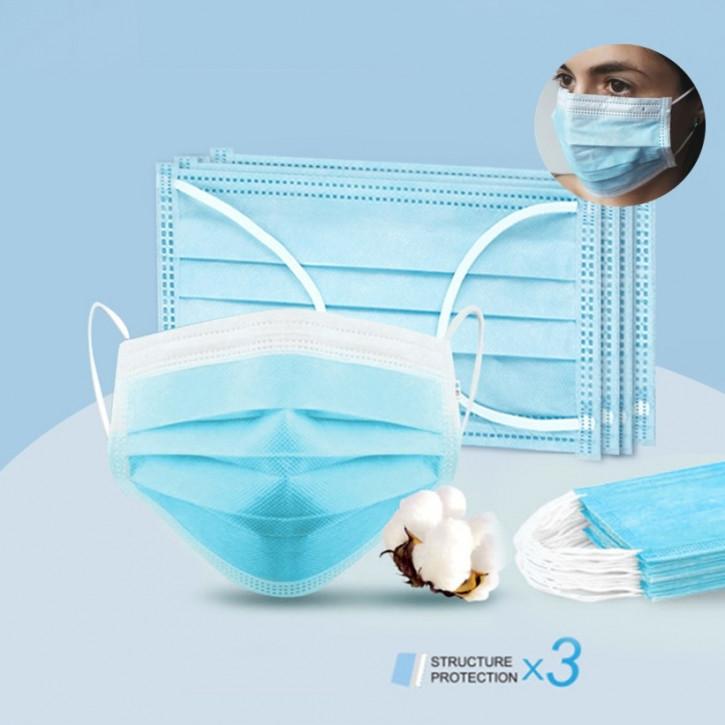 Chirurgische Einwegmasken, 3-lagig, effektiver Mundschutz vor Infektionen und Staub, Atemschutzmaske mit Ohrschlaufen, CE und FDA zertifiziert