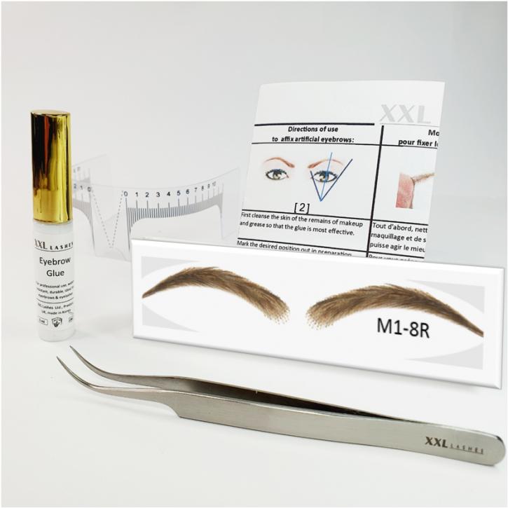 Set semi-permanente Augenbrauen, 100 % Echthaar zum Aufkleben - handgemacht, mit Kleber, Augenbrauen-Lineal und Pinzette