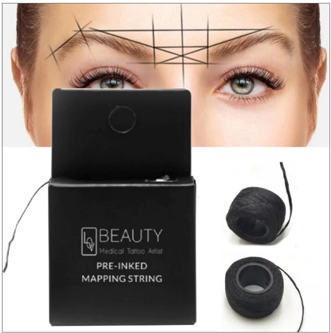10m Markierungsfaden für Augenbrauen, vorgefärbter Faden als Positionierungshilfe beim Microblading von Augenbrauen