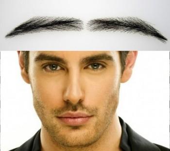 Semi-permanente, buschige Augenbrauen zum Aufkleben für Männer, handgemacht, aus 100 % Echthaar - 2. Wahl, zum reduzierten Preis