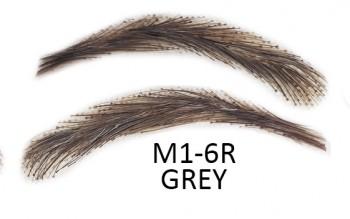 Künstliche, semi-permanente Augenbrauen aus 100 % Echthaar zum Aufkleben - handgemacht, M1-6R grey