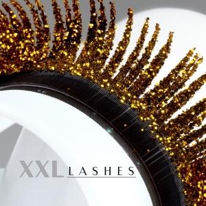 """Mink-Lashes """"Glitter"""" in silber und gold - C-Curl, in einer Box mit 3 verschiedenen Längen - gold"""