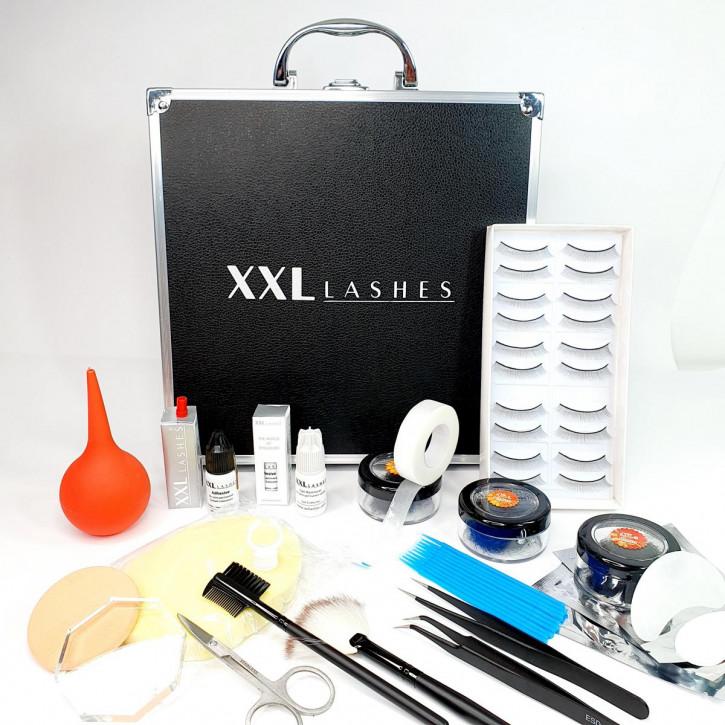 XXL Lashes Starter Kit für Wimpernverlängerung, schwarzer Koffer mit Grundausstattung für Anfänger Stylisten, inkl. Anleitung
