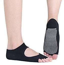 2 PaareNon slip Yoga-Socken, zehenfrei, mit Antirutsch-Sohle