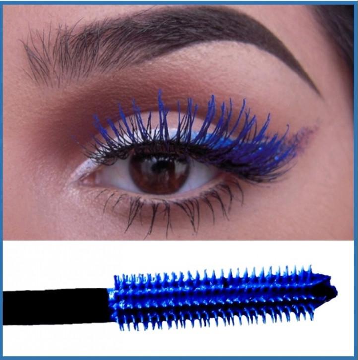 Blaue Mascara, Wimperntusche für mehr Volumen, wasserfest, intensive Farbe