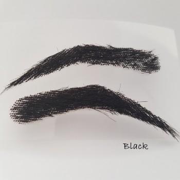 Semi-permanente, buschige Augenbrauen zum Aufkleben für Männer, handgemacht, aus 100 % Echthaar - 2. Wahl, zum reduzierten Preis - schwarz