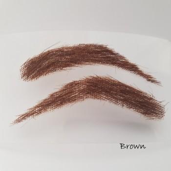 Semi-permanente, buschige Augenbrauen zum Aufkleben für Männer, handgemacht, aus 100 % Echthaar - 2. Wahl, zum reduzierten Preis - braun