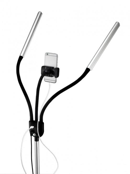 Gemini Tageslicht LED Standleuchte mit Doppelarm, Smartphone-Halter und Tragetasche, 4 Helligkeitsstufen