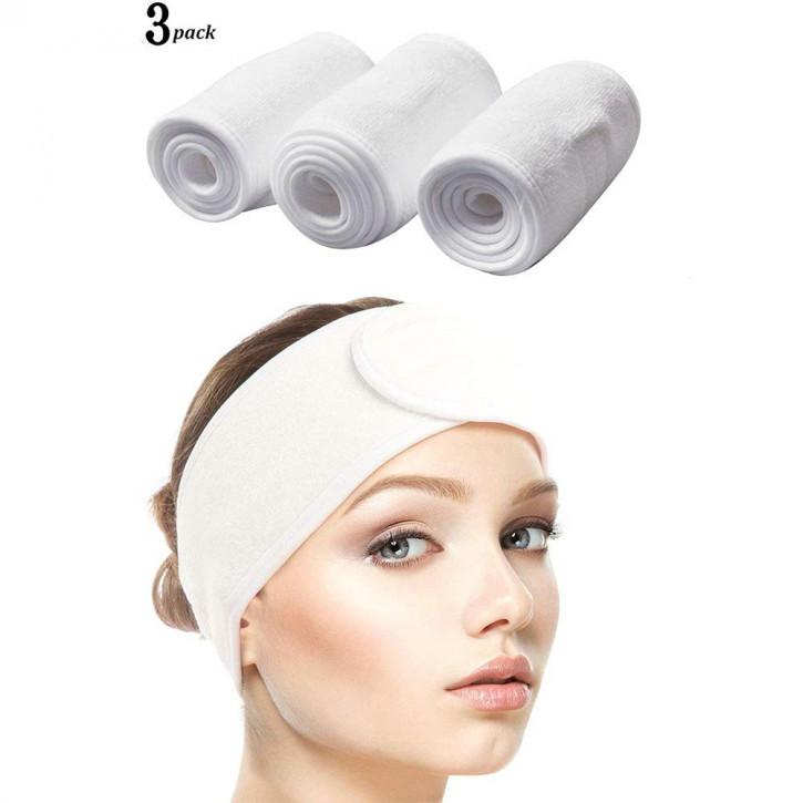 3 weiße Frottee Stirnbänder mit verstellbarem Klettverschluß für Kosmetik