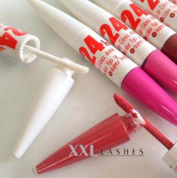 24h Lipgloss, 2-in-1, brillante Farbe, starker Glanz