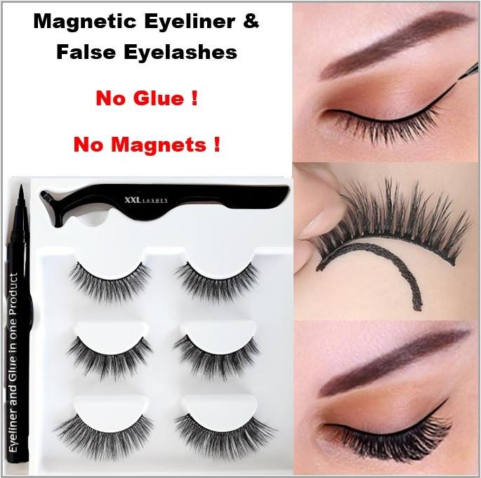 ❤ Magischer selbstklebender Eyeliner Set - kombiniert beides: Eyeliner und Wimpernkleber in einem Produkt