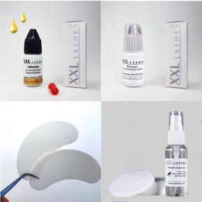 XXL Lashes Mini Kit für Wimpernverlängerung, Erstausstattung für Anfänger-Stylisten mit Qualitätsprodukten und Handbuch