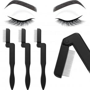 Faltbarer Wimpernkamm, zusammenklappbarer Mascara Separator mit Edelstahl Zähnen, empfohlen bei Wimpernverlängerungen