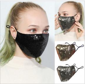 Glamour Gesichtsschutz mit Pailletten - silber